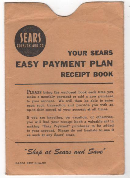 Sears Roebuck Payment Envelope Contract Bill Booklet - Johnson City TN Tennessee