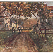 Old Mill & Village Street Valley Forge PA Pennsylvania Postcard - Tuck Oilette