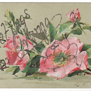 Greetings from Orange MA Massachusetts Postcard - Glitter - Pink Roses