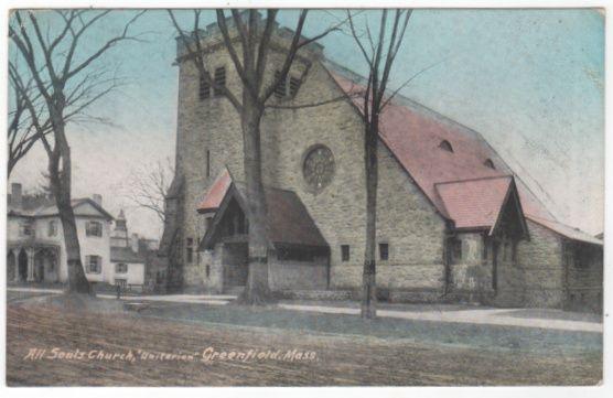 All Souls Church Unitarian Greenfield MA Massachusetts Vintage Postcard