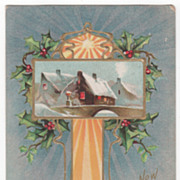 New Year Vintage Postcard New Year Greeting Art Nouveau Winter Scene