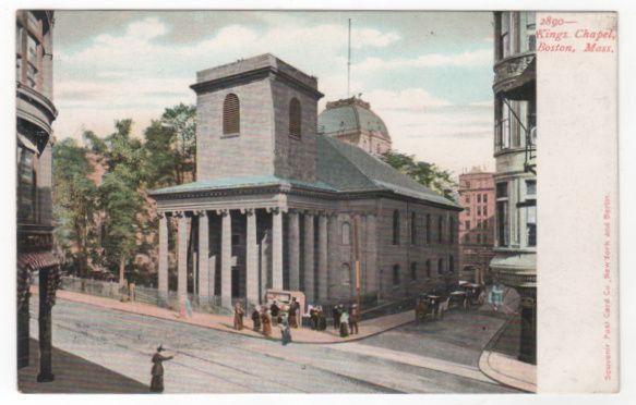 King's Chapel Boston MA Massachusetts Vintage Postcard