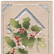 Christmas Vintage Postcard A Merry Christmas to You Holly Silver Diamond Frame