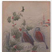 Christmas Vintage Postcard A Merry Christmas Rail Fence Robins Holly