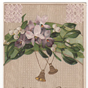 New Year Vintage Postcard A Happy New Year Violets Mistletoe Tiny Golden Bells