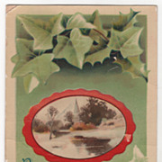 New Year Vintage Postcard Best Wishes for the New Year Church Scene Ivy