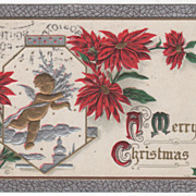 Christmas Vintage Postcard A Merry Christmas Cupid Poinsettias Holly