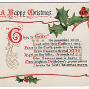 Christmas Vintage Postcard A Happy Christmas Hymn Scroll Holly Tuck