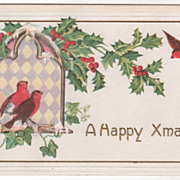 Christmas Vintage Postcard A Happy Xmas Redbirds Ivy Holly