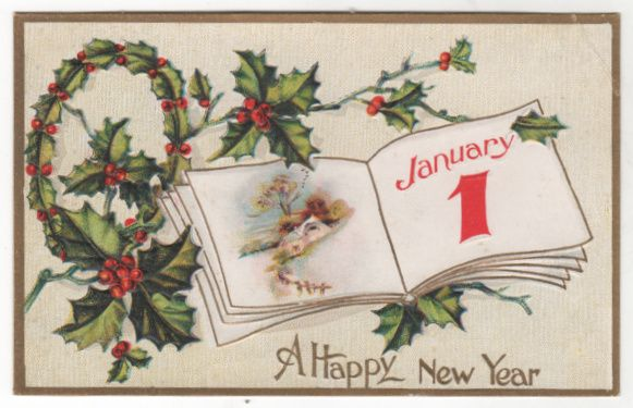 New Year Vintage Postcard A Happy New Year Book w/Country Scene ...