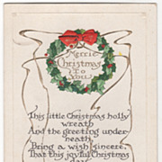 Christmas Vintage Postcard Merrie Christmas to You Golden Bells Holly Wreath
