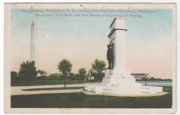 The Speedway and Monuments Washington DC District of Columbia Vintage Postcard