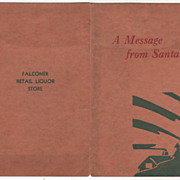 """A Message from Santa"" Falconier Retail Liquor Store Vintage Brochure"