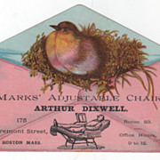 Marks Adjustable Chair Arthur Dixwell 175 Tremont Boston MA Victorian Tr Card - Red Tag Sale Item