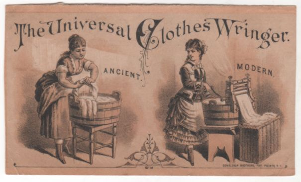The Universal Clothes Wringer Rowell's Double-Cog Wheels Victorian Trade Card