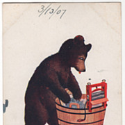 Artist Signed Wall Vintage Postcard Monday This Little Bear Washes Clothes