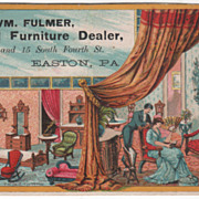 Wm Fulmer General Furniture Dealer Easton PA Pennsylvania Victorian Trade Card - Red Tag Sale Item