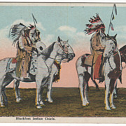 Native Americana Blackfoot Indian Chiefs on Horseback Vintage Postcard