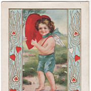 "Cupid Carries Large Red Heart ""To My Valentine"" Valentine Vintage Postcard"