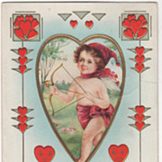"Cupid with Bow & Arrow ""St Valentine's Greetings..."" Valentine Vintage Postcard"