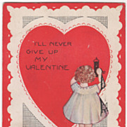 Girl Unlocking Big Red Heart with a Key Valentine Vintage Postcard