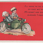 Girl and Boy Riding a Motorcycle Valentine Vintage Postcard