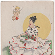 Young Woman with Box of Flowers and Cupid Flying Overhead Valentine Vintage Postcard