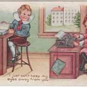 Boy at a Ledger Girl at a Typewriter Valentine Vintage Postcard