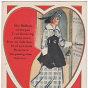 """Are You a May McMovie? Lady Going to the Movies Valentine Vintage Postcard"