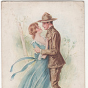 "Artist Signed Archie Gunn W W I ""When the Last Goodbyes are Whispered"" Vintage Postcard"