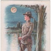 "Artist Signed Archie Gunn W W I ""The Sentry Moon"" Vintage Military Postcard"