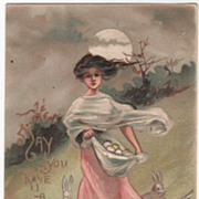 Artist Signed H B Griggs Lady with Apron Full of Eggs Bunnies at Her feet Vintage Easter Postcard - Red Tag Sale Item