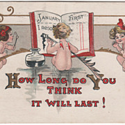 Artist Signed H B Griggs Cupids Writing Resolutions Vintage New Year Postcard - Red Tag Sale Item