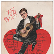 Artist Signed H B Griggs Young Man Playing a Guitar Vintage Valentine Postcard