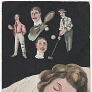 "Woman Sleeping ""Dream on My Valentine"" Men Polo Tennis Vintage Postcard"