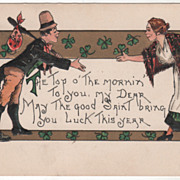 Artist Signed H B Griggs Man and Woman Shaking Hands Vintage St Patrick's Day Postcard