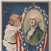 Artist Signed Clapsaddle Child with Washington Portrait Vintage Washington's Birthday Postcard - Red Tag Sale Item