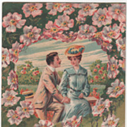 Man and Woman on a Bench Pink Flowers Vintage Valentine Postcard