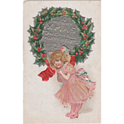 Little Girl Pink Clothing with Pink White Blue Bows Vintage Christmas Postcard