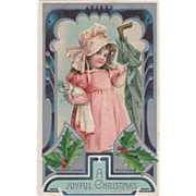 Young Girl in Pink and Bonnet with Doll and Umbrella Vintage Christmas Postcard - Red Tag Sale Item