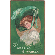 Signed Clapsaddle Lady in Large Green Hat Vintage St Patrick's Day Postcard