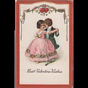 Little Boy and Girl in Formal Dress Dancing Vintage Valentine Postcard