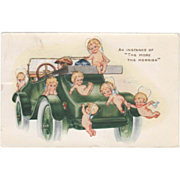 Whitney Seven Cupids on an Early Green Automobile Vintage Greetings Postcard