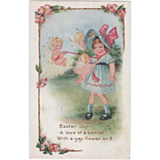 Whitney Three Cupids Tying on a Little Girl's Hat Vintage Easter Postcard - Red Tag Sale Item