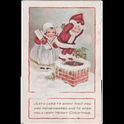Whitney Nimble Nicks Looking Down a Chimney Vintage Christmas Postcard