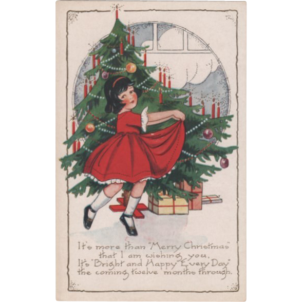 Whitney Little Girl Dancing In Front Christmas Tree