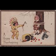Native American Boy Attacking Pilgrim Boy at Tree Vintage Thanksgiving Postcard