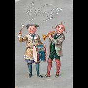 Girl Playing Drum Boy Playing Trumpet Vintage Valentine Postcard