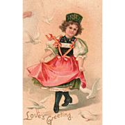 Lovebirds Girl in Pink Apron Dancing Vintage Valentine Postcard