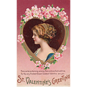 Young Woman in Blue in Gold Heart with Pink Flowers Vintage Valentine Postcard
